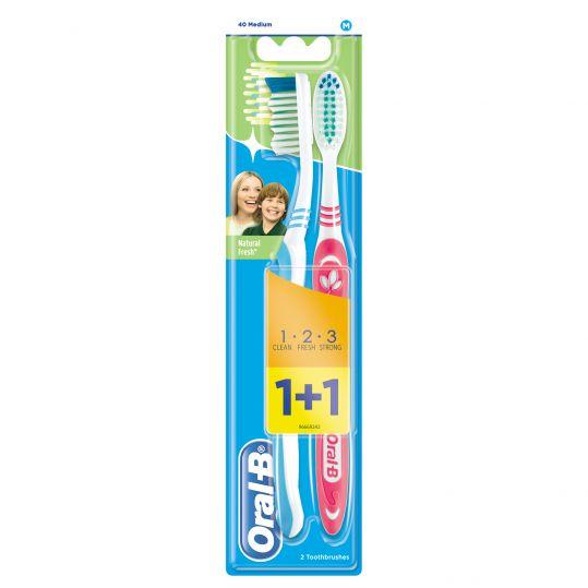 Орал-би 3-effect зубная щетка натуральная свежесть 40 средняя 1+1 (промо), фото №1