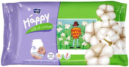 Белла беби хеппи салфетки влажные шелк и хлопок 64 шт. tzmo s.a. 1/4, фото №1
