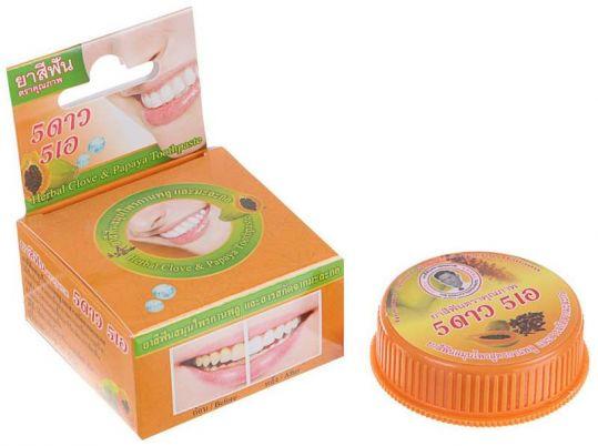 5 стар косметик зубная паста травяная отбеливающая с экстрактом папайи 25г, фото №1