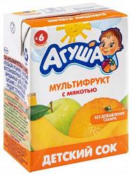 Агуша сок мультифрукт с мякотью 6+ 200мл