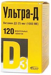Ультра-д витамин д3 таблетки жевательные (1000ме) 25мкг 120 шт.
