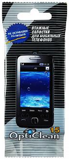 Оптиклин салфетки влажные для мобильных телефонов 15 шт.