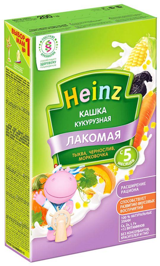 Хайнц каша кукурузная лакомая тыква/чернослив/морковь 5+ 200г, фото №1