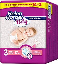 Хелен харпер беби подгузники миди размер 3 4-9кг 17 шт.