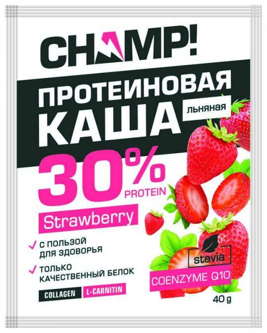 Чамп каша льняная протеиновая клубника/коэнзим q10 40г, фото №1
