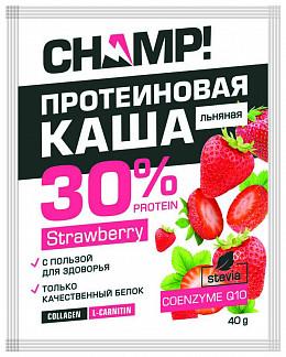 Чамп каша льняная протеиновая клубника/коэнзим q10 40г