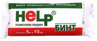 Хелп бинт стерильный марлевый 5мх10см