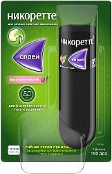 Никоретте фруктово-мятный спрей от курения для слизистой оболочки полости рта, 1 мг/доза