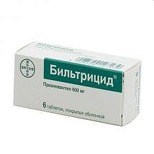 Бильтрицид 600мг 6 шт. таблетки покрытые пленочной оболочкой