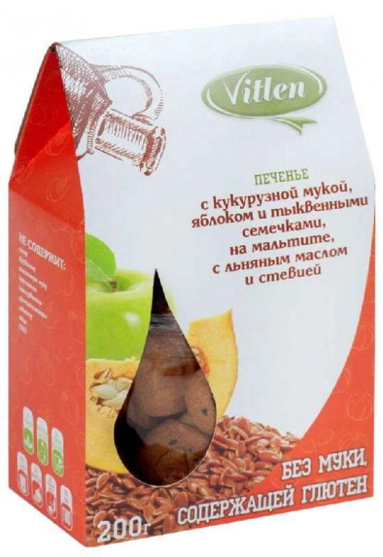 Витлен печенье c кукурузной мукой яблоком/семечками тыквы, льняным маслом на мальтите со стевией 200г, фото №1