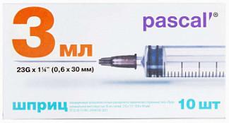Паскаль шприц одноразовый трехкомпонентный стерильный луер 3мл 23g 0,6х30мм 10 шт.