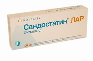 Сандостатин лар 20мг 1 шт. микросферы для приготовления суспензии для внутримышечного введения