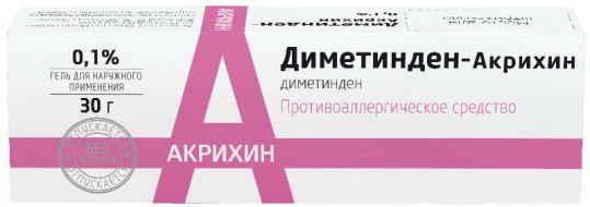 Диметинден-акрихин 0,1% 30г гель для наружного применения, фото №1
