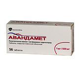 Авандамет 1мг/500мг 56 шт. таблетки