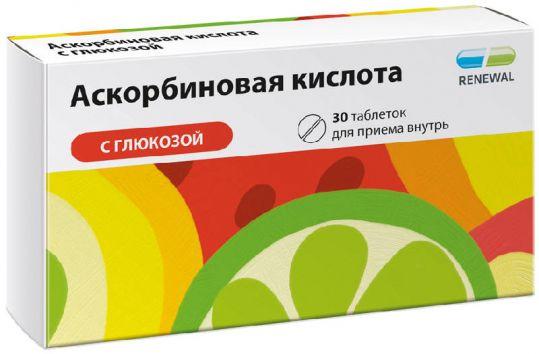 Аскорбиновая кислота с глюкозой 30 шт. таблетки, фото №1