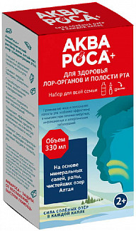 Аквароса плюс набор (ополаскиватель минеральный 2% 300мл+спрей для полости рта/горла 30мл+насадка)