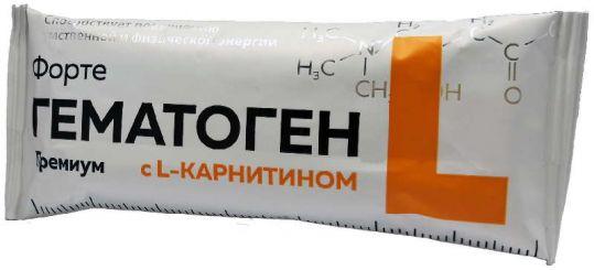 Гематоген форте премиум с l-карнитином 35г, фото №1