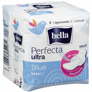 Белла перфекта ультра прокладки гигиенические супертонкие блю 10 шт.