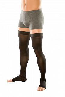 Венотекс чулки компрессионные мужские с силиконовым фиксатором и открытым носком 202 m черный