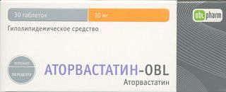 Аторвастатин-obl 10мг 30 шт. таблетки покрытые пленочной оболочкой
