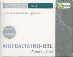 Аторвастатин-obl 40мг 30 шт. таблетки покрытые пленочной оболочкой