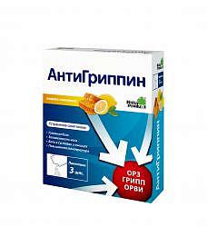Антигриппин 3 шт. порошок для приготовления раствора для приема внутрь для взрослых мед-лимон