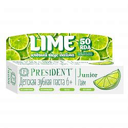 Президент джуниор зубная паста-гель для детей 6+ со вкусом лайма 50мл