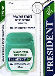 Президент флосс зубная нить фито антибактериальная с экстрактом мальвы вощеная 20м арт.004