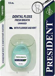 Президент флосс зубная нить со фтором и вкусом мяты невощеная 15м арт.132