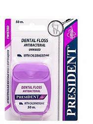 Президент флосс зубная нить с хлоргексидином 50м арт.1115