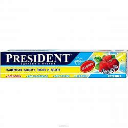 Президент джуниор зубная паста-гель д/детей 6+ со вкусом земляники без фтора 50мл