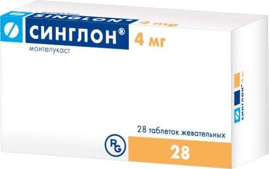 Синглон 4мг 28 шт. таблетки жевательные, фото №1