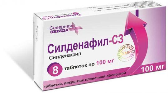 Силденафил-сз 100мг 8 шт. таблетки покрытые пленочной оболочкой, фото №1