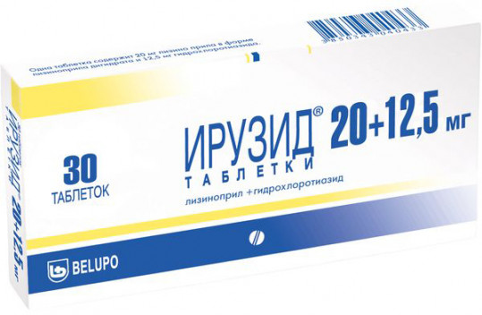Ирузид 20мг+12,5мг 30 шт. таблетки, фото №1
