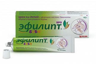 ЭФИЛИПТ БРО БЭБИ крем детский разогревающий с отхаркивающим эффектом 40г