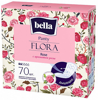 Белла панти флора прокладки ежедневные с розой 70 шт.