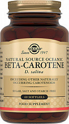 Солгар бета-каротин из океанической водоросли д. салина капсулы 60 шт.