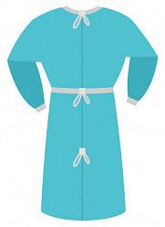 Халат хирургический рукав на резинке нестерильный спанбонд 25гр/м2 размер 52-54 голубой