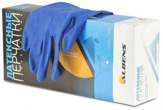 Албенс перчатки диагностические латексные неопудренные нестерильные неанатомические повышенной длины и прочности размер m 50 шт., фото №1