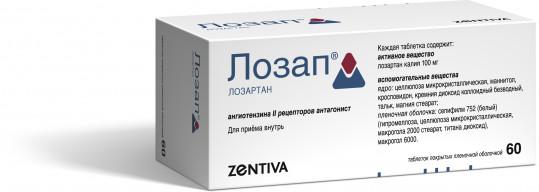 Лозап 100мг 60 шт. таблетки покрытые пленочной оболочкой, фото №1