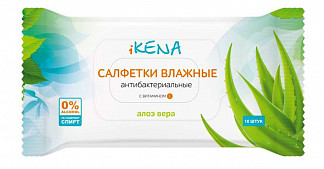 Икена салфетки влажные антибактериальные алоэ вера 10 шт.