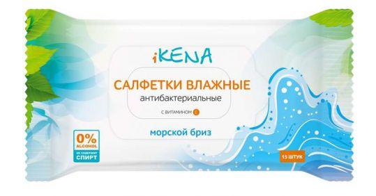 Икена салфетки влажные антибактериальные морской бриз 15 шт., фото №1