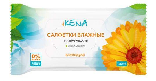 Икена салфетки влажные гигиенические календула 15 шт., фото №1