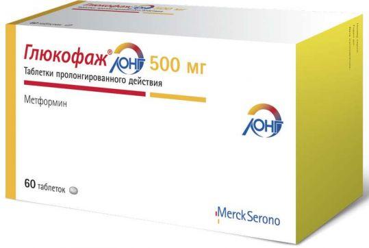 Глюкофаж лонг 500мг 60 шт. таблетки с пролонгированным высвобождением merck sante, фото №1