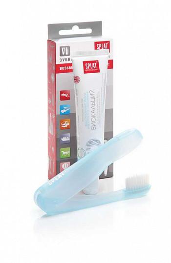 Сплат профешнл набор дорожный зубная паста биокальций 40мл+зубная щетка, фото №2