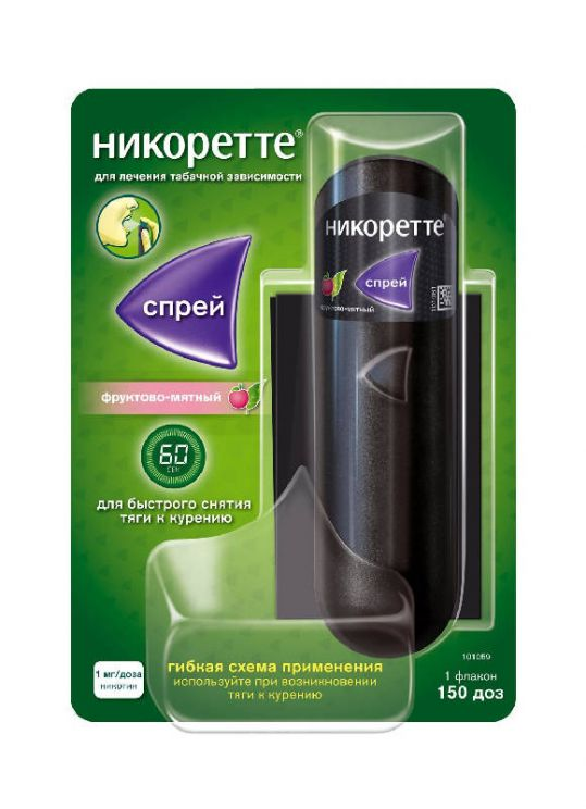 Никоретте фруктово-мятный спрей от курения для слизистой оболочки полости рта, 1 мг/доза, фото №1
