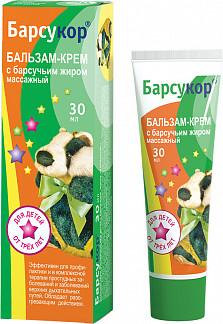 Барсукор крем-бальзам детский массажный 30мл