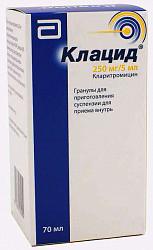 Клацид 250мг/5мл 49,5г (70мл) гранулы для приготовления суспензии для приема внутрь