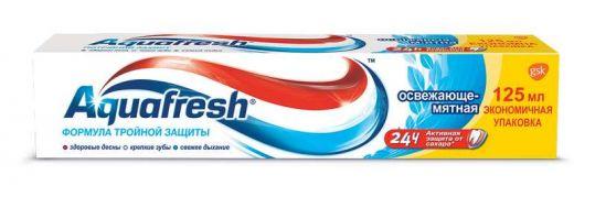 Аквафреш 3+ зубная паста освежающе-мятная 125мл, фото №1
