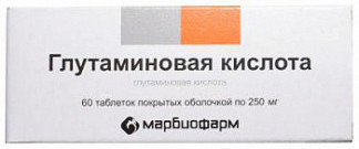 Глутаминовая кислота 250мг 60 шт. таблетки покрытые оболочкой